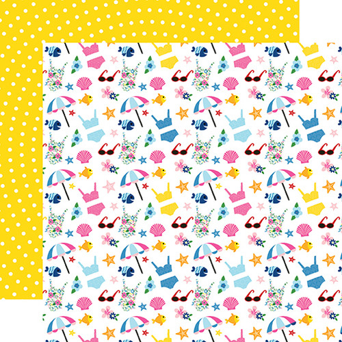 I Love Summer Collection Hello Summer 12 x 12 Double-Sided Scrapbook Paper by Echo Park Paper