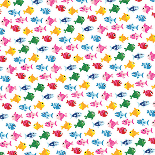 I Love Summer Collection Fish In The Sea 12 x 12 Double-Sided Scrapbook Paper by Echo Park Paper