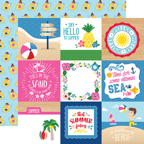 I Love Summer Collection 4X4 Journaling Cards 12 x 12 Double-Sided Scrapbook Paper by Echo Park Paper