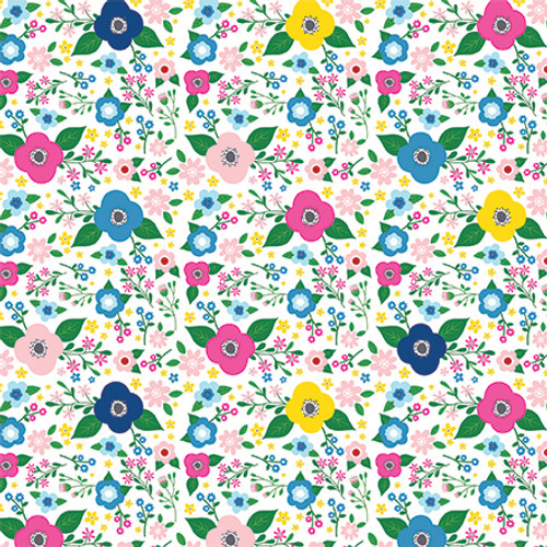 I Love Summer Collection Summer Floral 12 x 12 Double-Sided Scrapbook Paper by Echo Park Paper