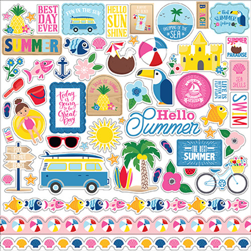I Love Summer Collection 12 x 12 Element Scrapbook Sticker by Echo Park Paper