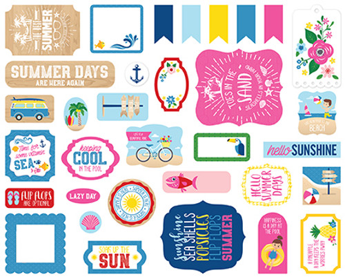 I Love Summer Collection 4 x 4 Ephemera Scrapbook Die Cuts by Echo Park Paper