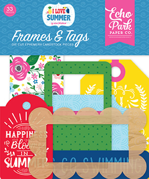 I Love Summer Collection 4 x 4 Frames & Tags Scrapbook Die Cuts by Echo Park Paper