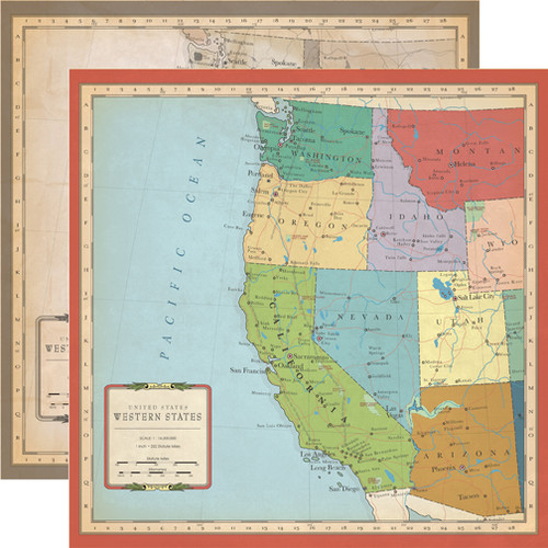 Cartography Collection US West Coast Map 12 x 12 Double-Sided Scrapbook Paper by Carta Bella