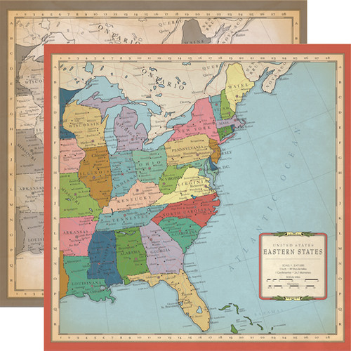 Cartography Collection US East Coast Map 12 x 12 Double-Sided Scrapbook Paper by Carta Bella