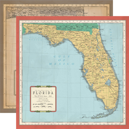 Cartography Collection Florida Map 12 x 12 Double-Sided Scrapbook Paper by Carta Bella