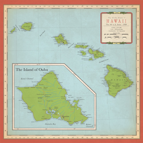 Cartography Collection Hawaii Map 12 x 12 Double-Sided Scrapbook Paper by Carta Bella