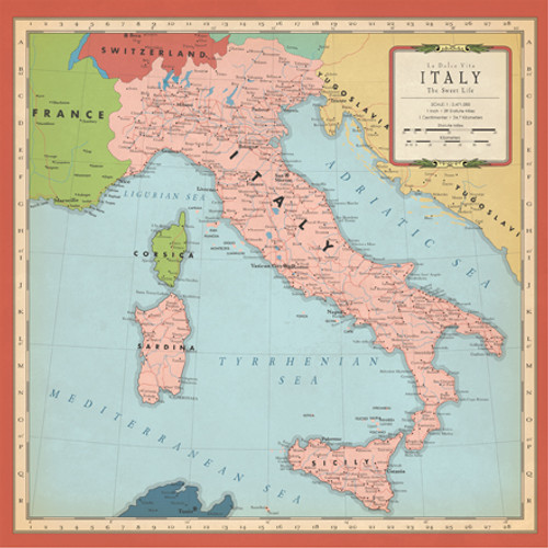 Cartography Collection Italy Map 12 x 12 Double-Sided Scrapbook Paper by Carta Bella