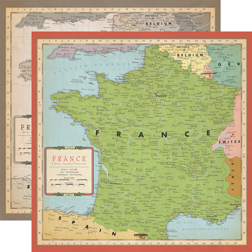Cartography Collection France Map 12 x 12 Double-Sided Scrapbook Paper by Carta Bella