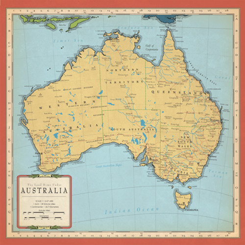 Cartography Collection Australia Map 12 x 12 Double-Sided Scrapbook Paper by Carta Bella