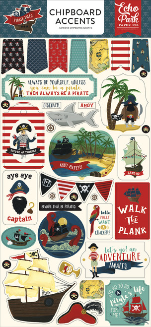Pirate Tales Collection 6 x 12 Chipboard Accents Scrapbook Embellishment by Echo Park Paper