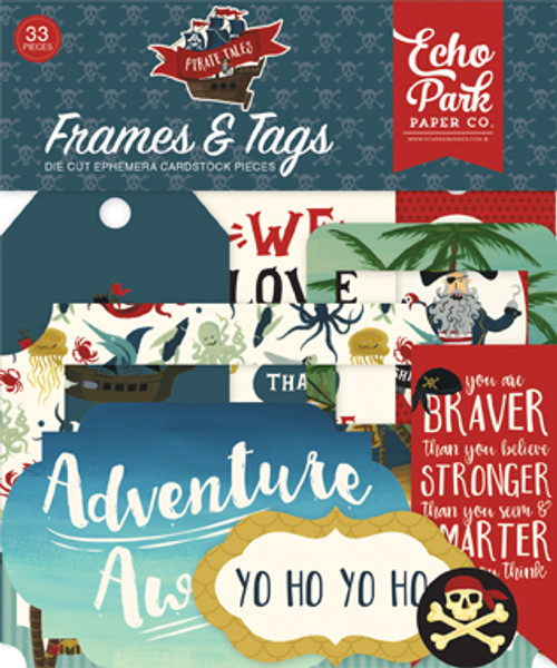 Pirate Tales Collection Frames & Tags Die Cut Ephemera Cardstock Scrapbook Pieces by Echo Park Paper