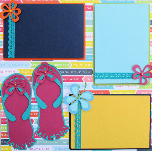 Summer Party & Flip Flops Pre-Made Embellished Two-Page 12 x 12 Scrapbook Layout by SSC Designs