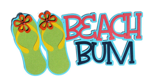 Beach Bum 4 x 7 Laser Cut Scrapbook Embellishments by SSC Laser Designs
