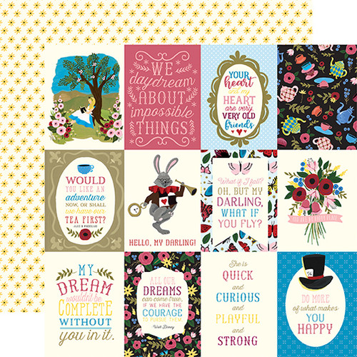 Alice In Wonderland Collection 3 x 4 Journaling Cards 12 x 12 Double-Sided Scrapbook Paper by Echo Park Paper