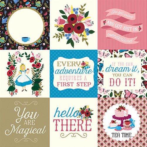 Alice In Wonderland Collection 4 x 4 Journaling Cards 12 x 12 Double-Sided Scrapbook Paper by Echo Park Paper