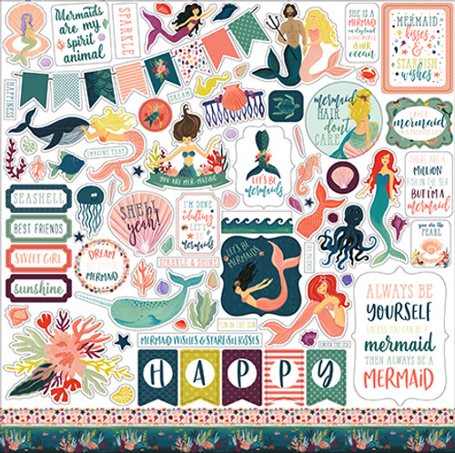 Mermaid Tales Collection 12 x 12 Element Scrapbook Sticker Sheet by Echo Park Paper