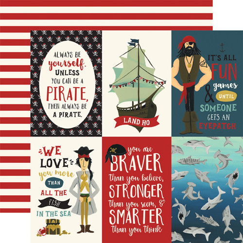 Pirate Tales Collection 4 x 6 Journaling Cards 12 x 12 Double-Sided Scrapbook Paper by Echo Park Paper