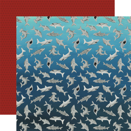 Pirate Tales Collection Shark Bait 12 x 12 Double-Sided Scrapbook Paper by Echo Park Paper