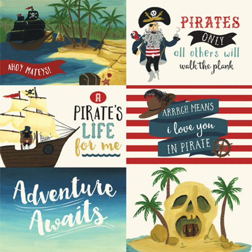 Pirate Tales Collection 6 x 4 Journaling Cards 12 x 12 Double-Sided Scrapbook Paper by Echo Park Paper