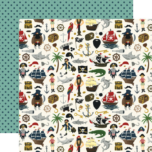 Pirate Tales Collection Walk The Plank 12 x 12 Double-Sided Scrapbook Paper by Echo Park Paper