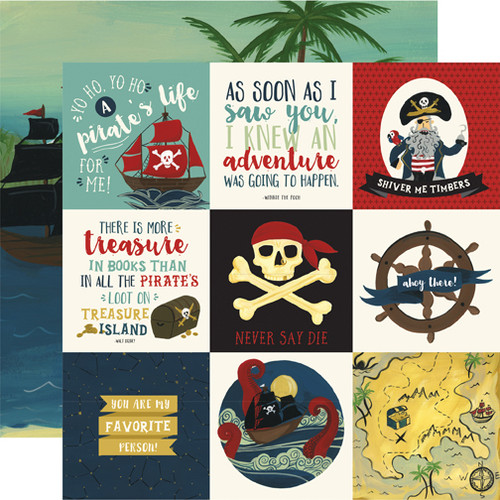 Pirate Tales Collection 4 x 4 Journaling Cards 12 x 12 Double-Sided Scrapbook Paper by Echo Park Paper