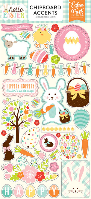 Hello Easter Collection 6 X 12 Chipboard Accents  by Echo Park Paper