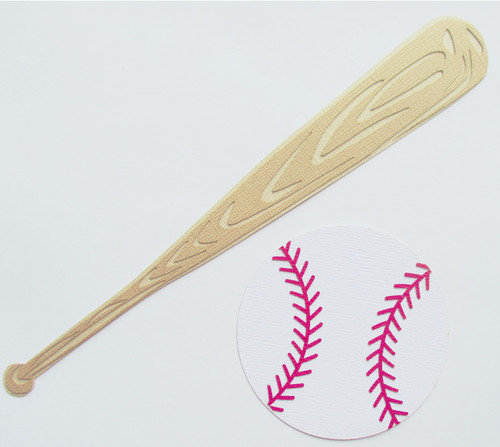 "Baseball Bat 8"" & Ball 3"" Laser Cut Scrapbook Embellishments by SSC Laser Designs"