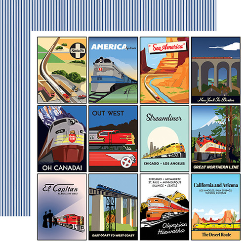 All Aboard Collection 3 x 4 Journaling Cards 12 x 12 Double-Sided Scrapbook Paper by Carta Bella