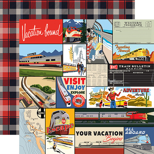 All Aboard Collection Multi Journaling Cards 12 x 12 Double-Sided Scrapbook Paper by Carta Bella
