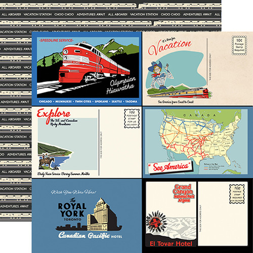 All Aboard Collection Postcards 12 x 12 Double-Sided Scrapbook Paper by Carta Bella