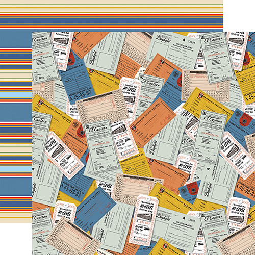 All Aboard Collection Tickets 12 x 12 Double-Sided Scrapbook Paper by Carta Bella
