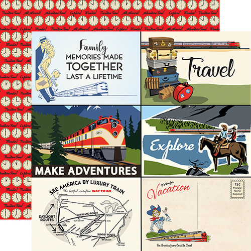 All Aboard Collection 4 x 6 Journaling Cards 12 x 12 Double-Sided Scrapbook Paper by Carta Bella
