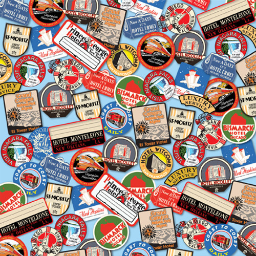 All Aboard Collection Destination Stickers 12 x 12 Double-Sided Scrapbook Paper by Carta Bella