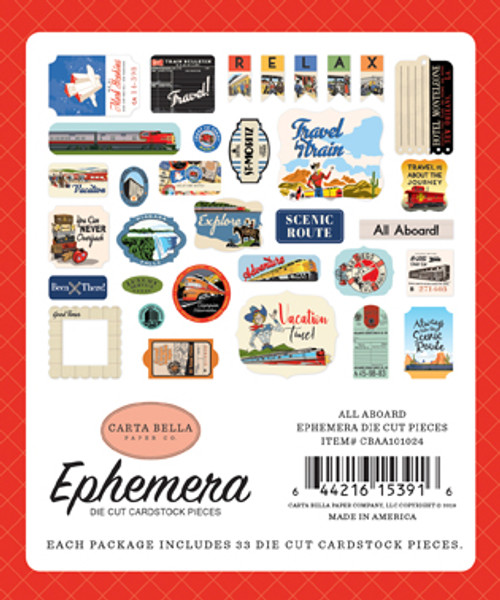 All Aboard Collection 4 x 4 Ephemera Scrapbook Cardstock Die Cuts by Carta Bella