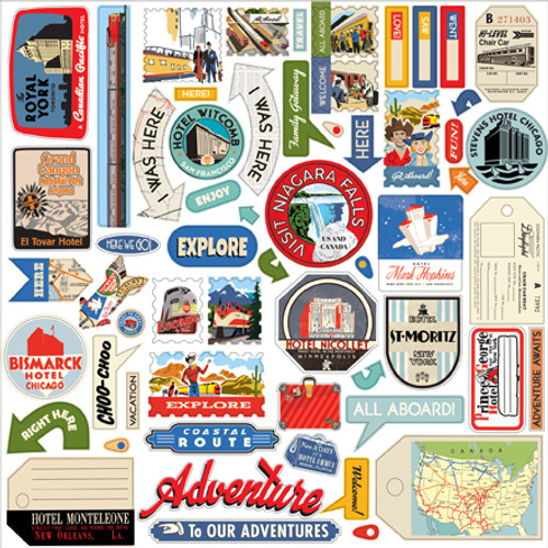 All Aboard Collection 12 x 12 Scrapbook Element Sticker Sheet by Carta Bella