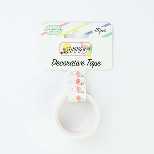 Best Summer Ever Collection Flamingo Fun Decorative Scrapbook Tape by Echo Park Paper - 15 Feet