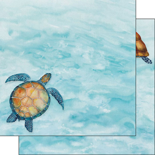 African Safari Collection Sea Turtles 12 x 12 Double-Sided Scrapbook Paper by Scrapbook Customs