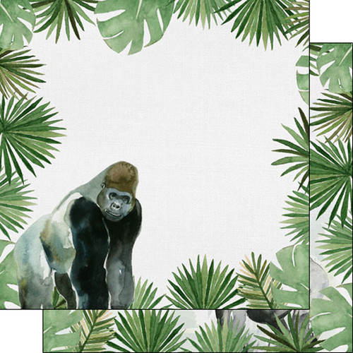 African Safari Collection Gorilla 12 x 12 Double-Sided Scrapbook Paper by Scrapbook Customs