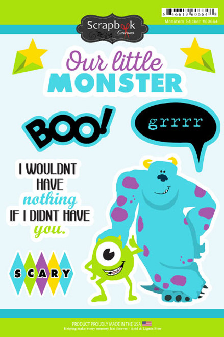 Disneyana Monsters Collection Our Little Monster 6 x 9 Scrapbook Sticker Sheet by Scrapbook Customs