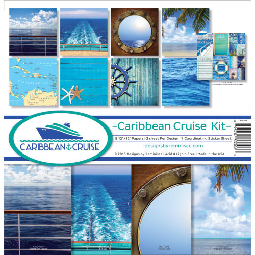 Caribbean Cruise Collection 12 x 12 Page Kit by Reminisce - 8 Papers & 1 Sticker Sheet