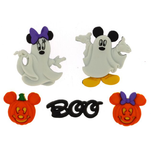 Disney Dress It Up Holiday Collection Mickey Mouse & Minnie Mouse Halloween Ghosts Scrapbook Button Embellishments by Jesse James Buttons