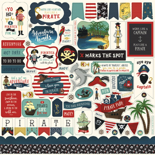 Pirate Tales Collection Elements 12 x 12 Scrapbook Sticker Sheet by Echo Park Paper