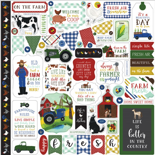Down On The Farm Collection Elements 12 x 12 Scrapbook Sticker Sheet by Echo Park Paper
