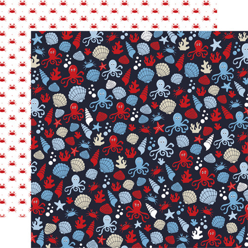 Deep Blue Sea Collection Sea Creatures 12 x 12 Double-Sided Scrapbook Paper by Carta Bella