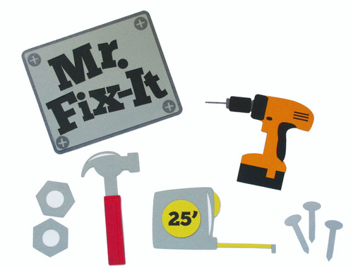 Mr. Fix It Tools 9-Piece, Fully-Assembled Laser Cut Scrapbook Embellishment by SSC Laser Designs  (original design by Miss Kate Cuttables)