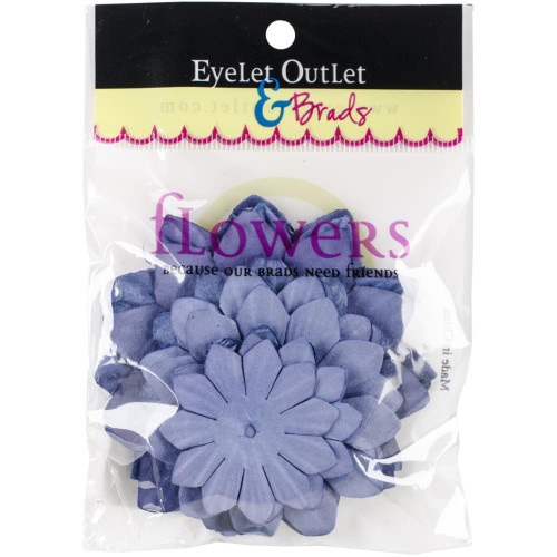 "Our Brads Need Friends Collection 1.5"", 2"", 2.5"" Lilac Scrapbook Flowers by Eyelet Outlet - 40 Pieces"
