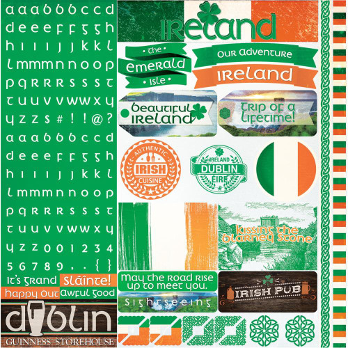 Ireland Collection 12 x 12 Cardstock Sticker Sheet by Reminisce