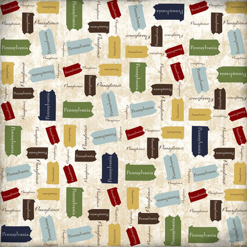 Lovely Travel Collection Pennsylvania State Shape 12 x 12 Scrapbook Paper by Scrapbook Customs
