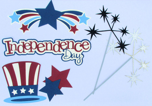 Independence Day Title & Accessories 7-Piece Laser Cut Scrapbook Embellishments by SSC Laser Designs (original design by Miss Kate Cuttables)